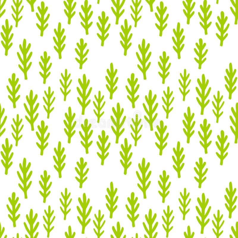 L'enfant dessinant les usines mignonnes, engazonnent le modèle sans couture La forêt de féerie verte s'embranche fond Copie de pa photo libre de droits