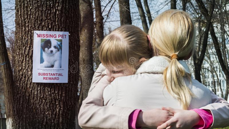 L'enfant est bouleversé au sujet du chiot absent, mère la calme vers le bas photos libres de droits