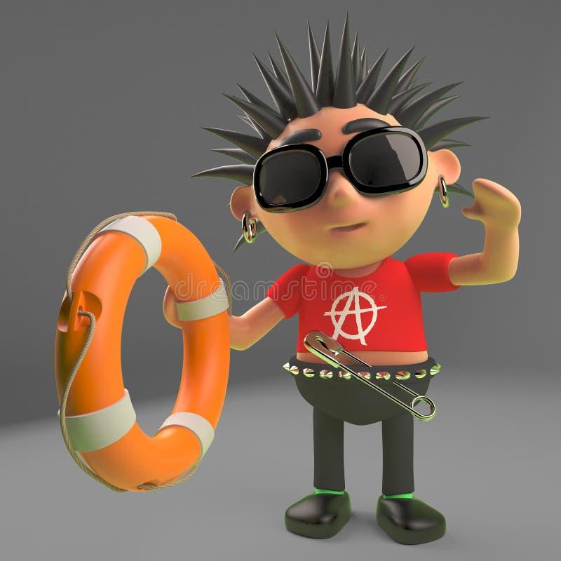 L'enfant héroïque de punk rock offre un conservateur de vie, l'illustration 3d illustration de vecteur