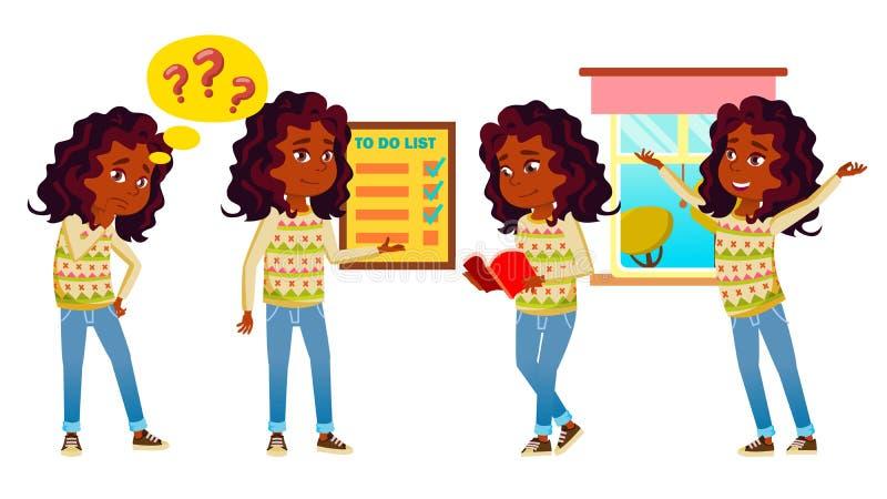L'enfant indien de fille pose le vecteur réglé indou Asiatique Enfant de lycée Étude d'enfants La connaissance, apprennent, leçon illustration stock