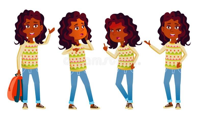 L'enfant indien de fille pose le vecteur réglé Enfant de lycée E Adolescent, salle de classe, pièce pour la carte postale illustration de vecteur