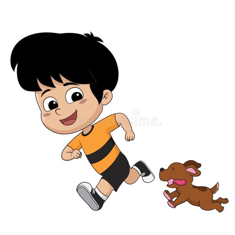 L'enfant jouait avec son bon ami, celui est le chien Vect illustration stock