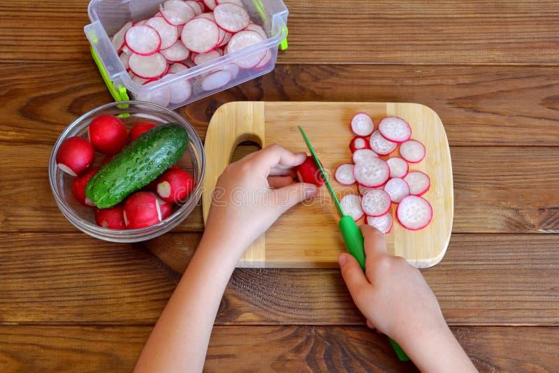 L'enfant juge un couteau de cuisine disponible et coupe le radis L'enfant prépare la salade végétale photo stock