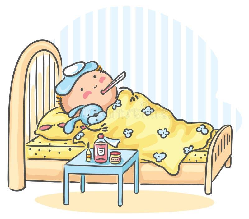 L'enfant a la grippe et se situe dans le lit avec un thermomètre illustration de vecteur