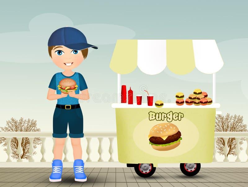 L'enfant mange l'hamburger illustration stock