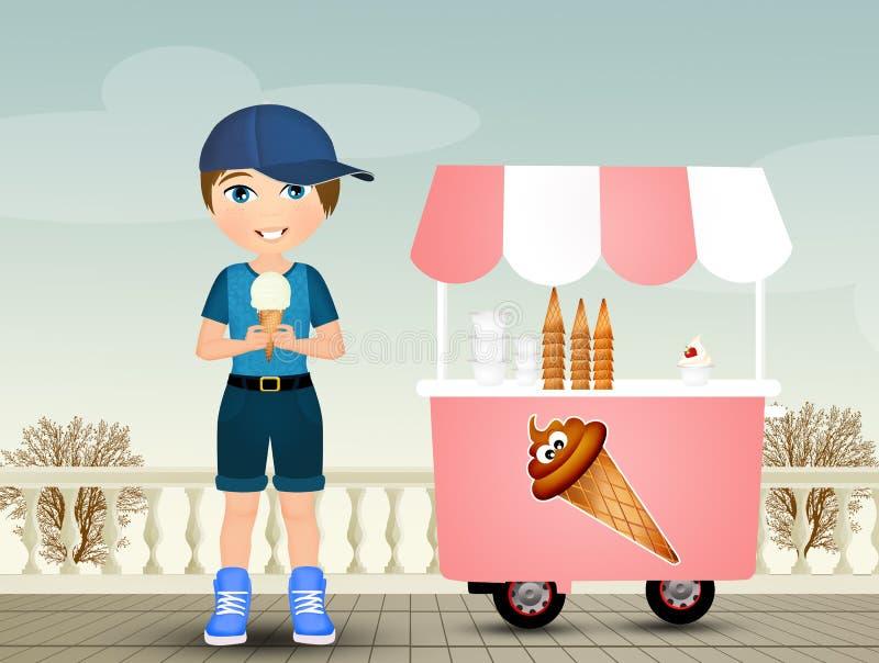 L'enfant mange la crême glacée illustration de vecteur