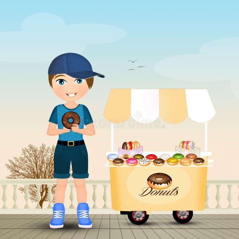 L'enfant mange le beignet illustration stock