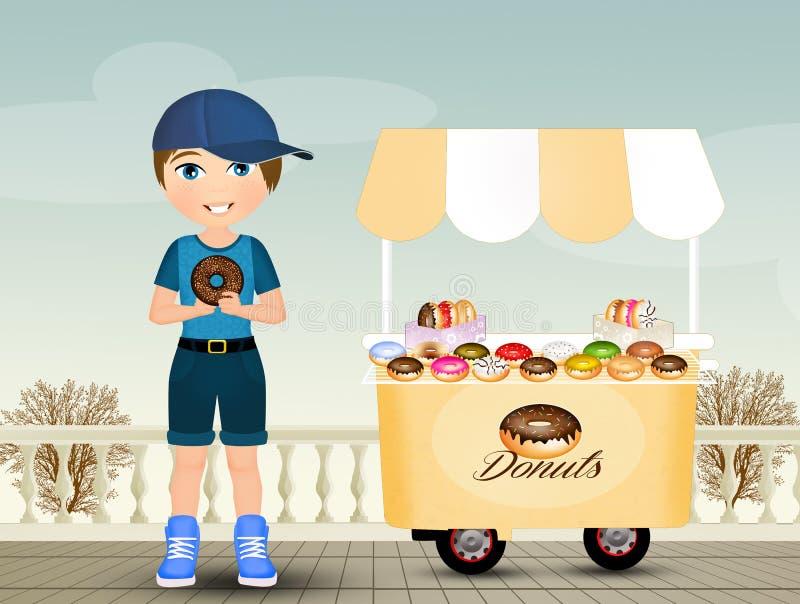 L'enfant mange le beignet illustration libre de droits