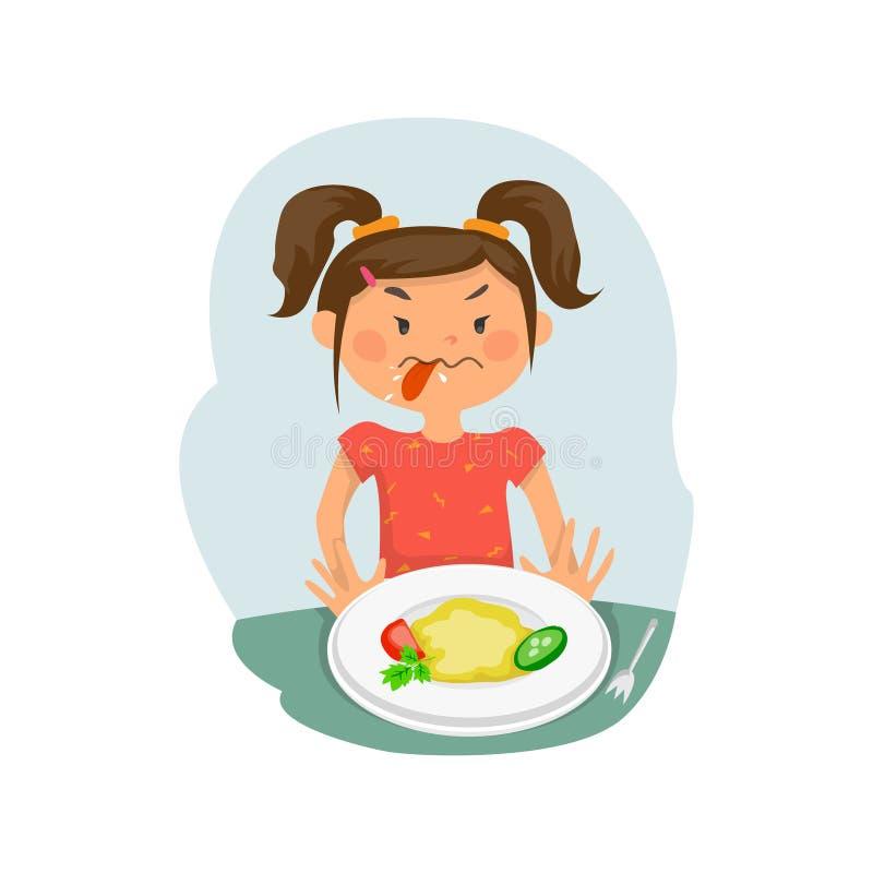 L'enfant ne veut pas manger illustration stock