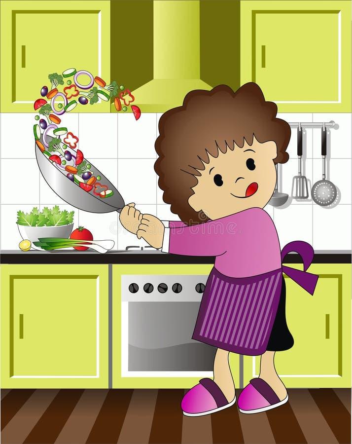 L'enfant a plaisir la cuisson