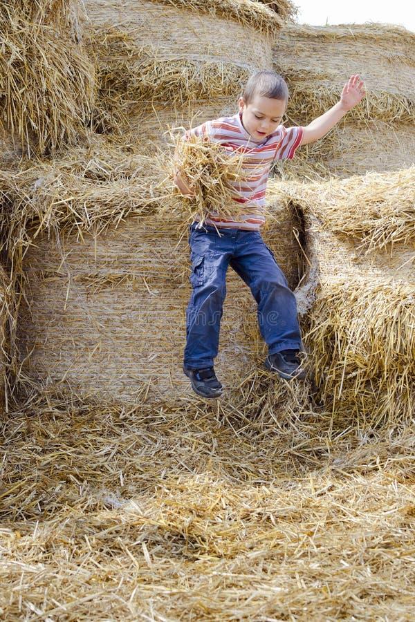 L'enfant sautant dans la meule de foin images libres de droits