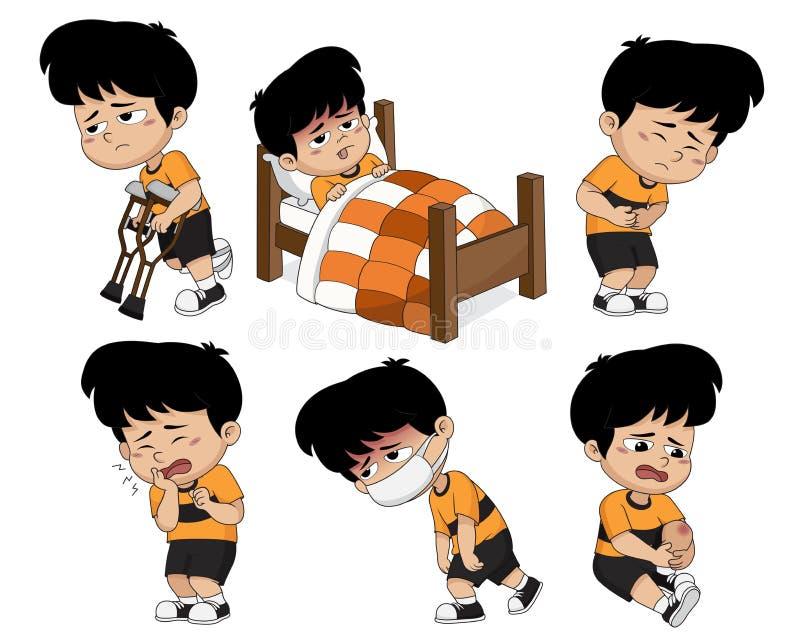 L'enfant sont fatigué, il a le haut temparature, tootache, mal de ventre, le genou i illustration de vecteur
