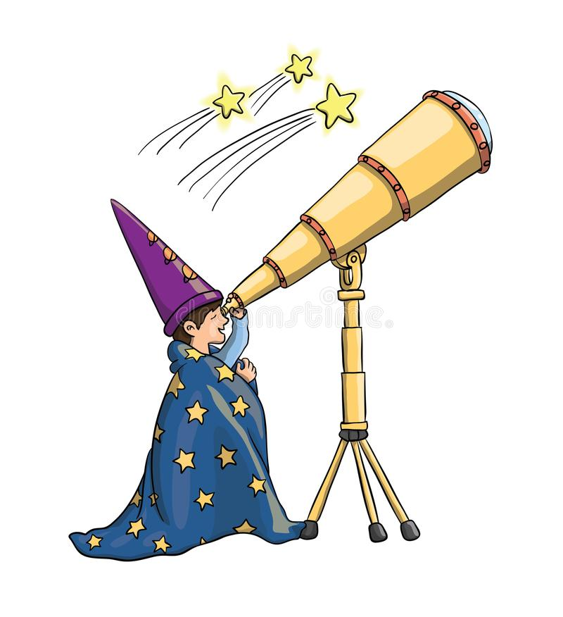 L'enfant, télescope, enfant, vecteur, les explorent, recherchent, astrologue, observation des étoiles, regard fixe, étoiles, l'es illustration stock