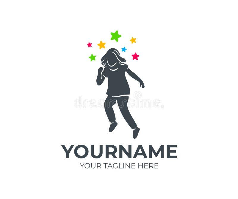 L'enfant vole ou décolle aux étoiles, conception de logo Protection de l'enfance ou soin, base, école et éducation, conception de illustration de vecteur