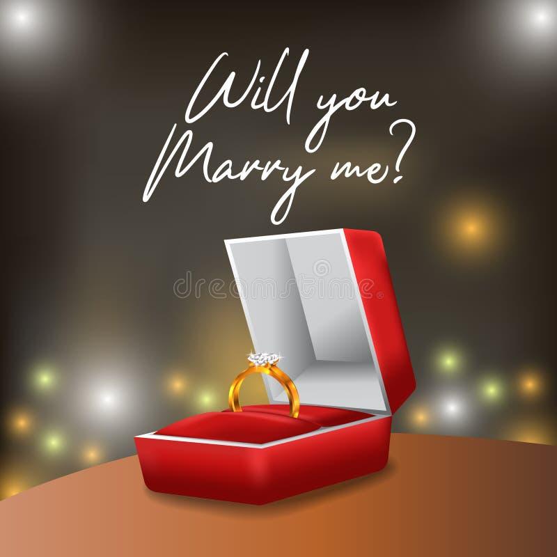 l'engagement d'or de l'anneau 3D proposent vous m'épousera avec la vue rouge de boîte et de nuit illustration libre de droits