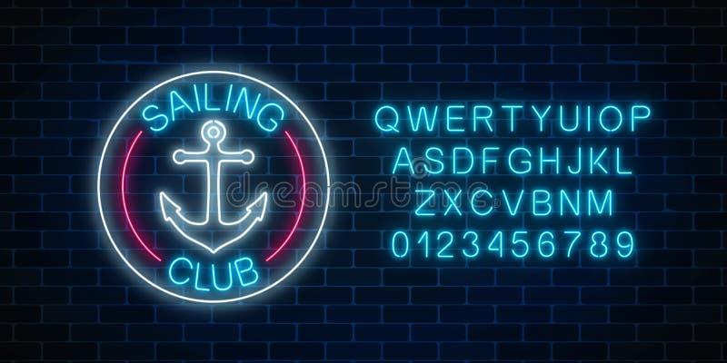 L'enseigne au néon rougeoyant de la navigation matraquent avec le symbole d'ancre dans des cadres de cercle Emblème de club de ya illustration stock