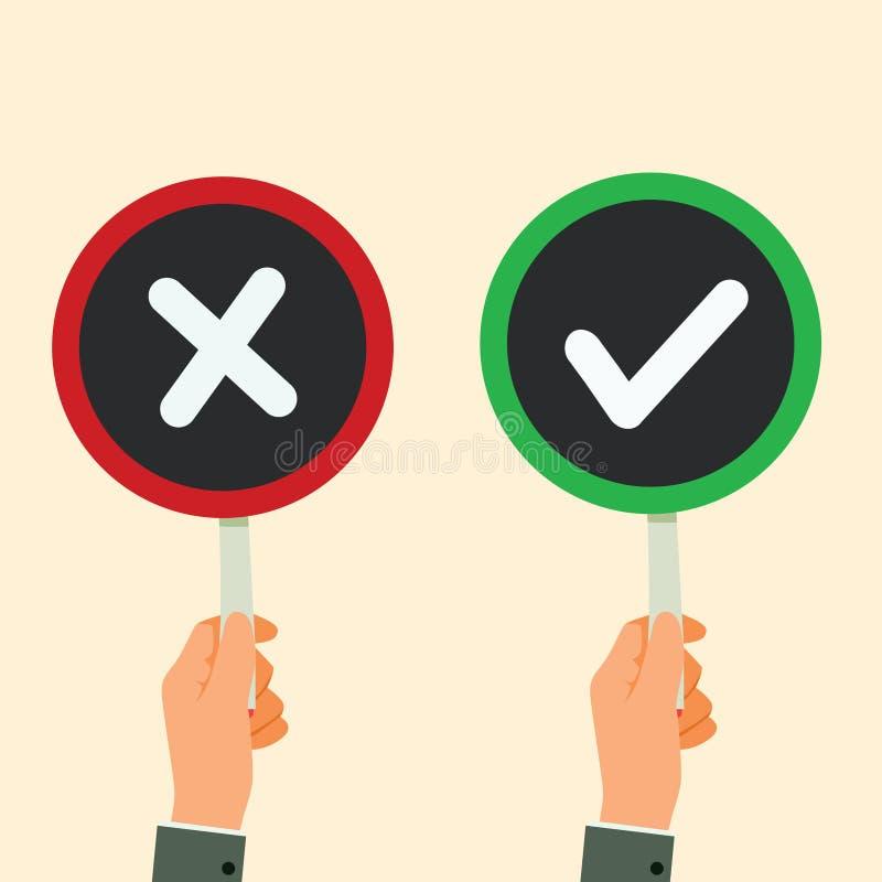 L'enseigne de prise de main v?rifient l'illustration de vecteur de Mark And Red X illustration libre de droits