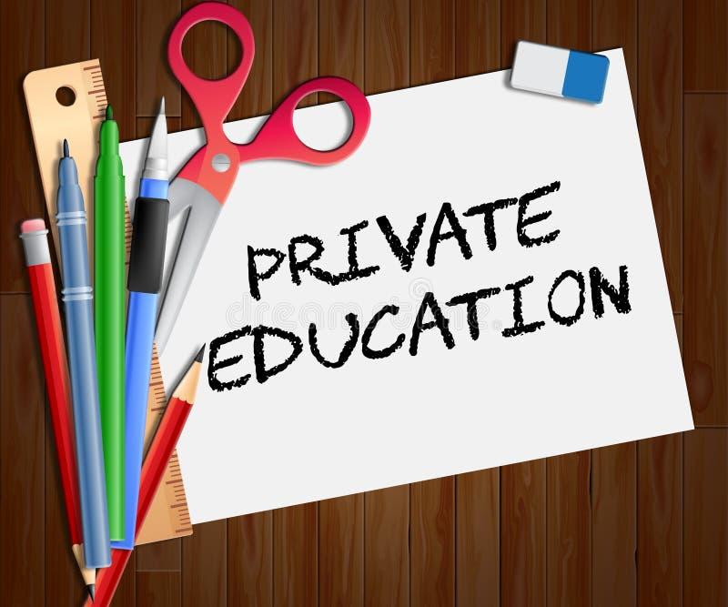 L'enseignement privé montre non l'état apprenant l'illustration 3d illustration stock