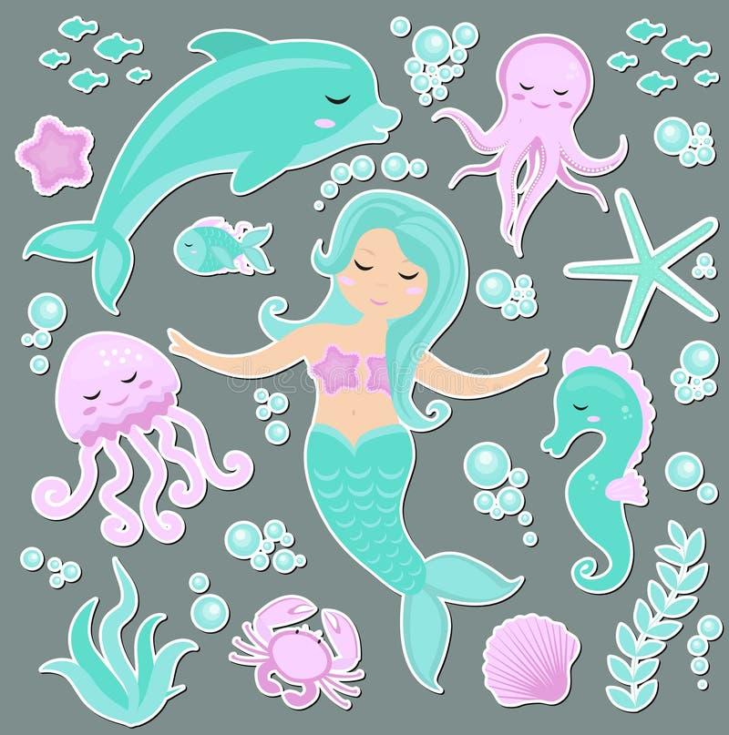 L'ensemble à la mode mignon d'emoji d'autocollants, corrections badges la petite sirène et le monde sous-marin Sirène de princess illustration stock