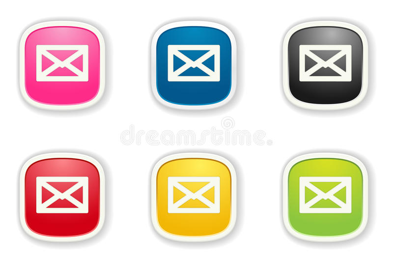 L'ensemble brillant d'icône d'enveloppe illustration de vecteur