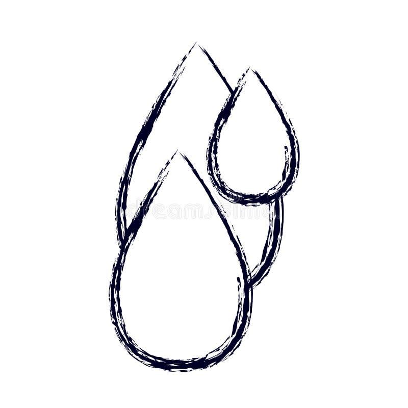 L'ensemble brouillé de silhouette de croquis laisse tomber l'eau illustration libre de droits