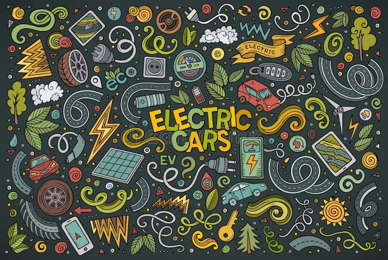 L'ensemble coloré de bande dessinée de griffonnage de vecteur de voitures électriques objecte illustration stock