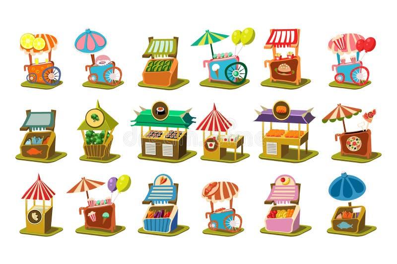 L'ensemble coloré de boutique de chariot de rue, kiosque au détail sur des roues dirigent des illustrations sur un fond blanc illustration de vecteur