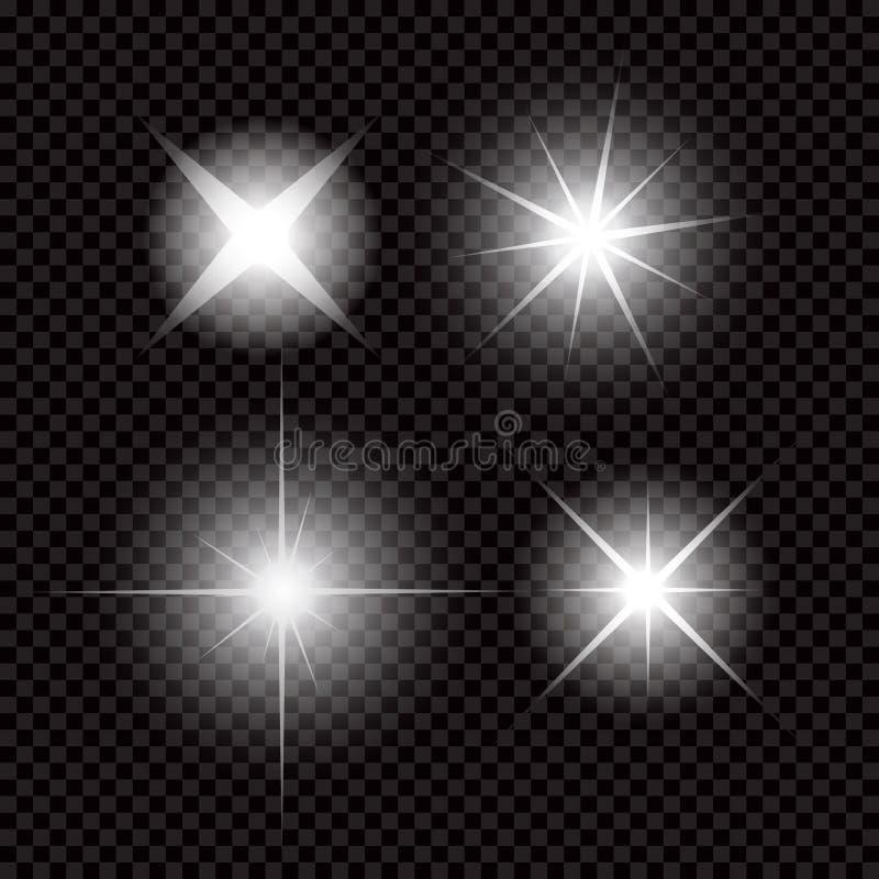 L'ensemble créatif de vecteur de concept d'étoiles d'effet de la lumière de lueur éclate avec des étincelles d'isolement sur le f illustration stock