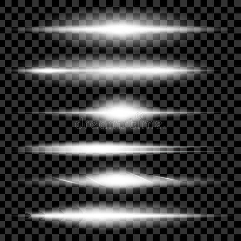 L'ensemble créatif de vecteur de concept d'étoiles d'effet de la lumière de lueur éclate avec des étincelles sur le fond noir pou illustration de vecteur