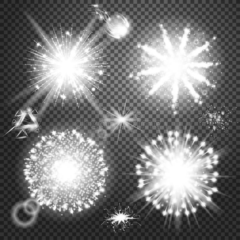 L'ensemble créatif de vecteur de concept d'étoiles d'effet de la lumière de lueur éclate avec des étincelles sur le fond noir Ill illustration stock