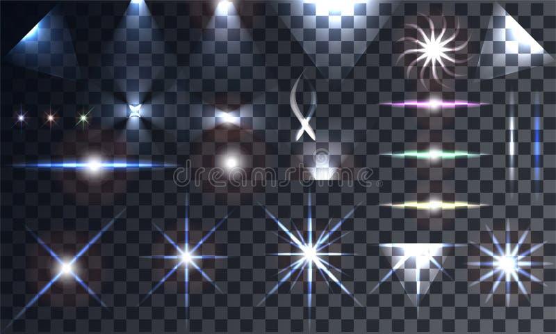 L'ensemble créatif de vecteur de concept d'effet de la lumière de lueur se tient le premier rôle illustration de vecteur