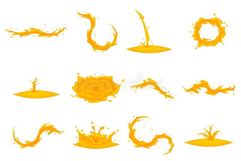 L'ensemble débordant d'icône de miel de bande dessinée de vortex de tourbillon de vague de baisse d'éclaboussure d'huile a isolé  illustration libre de droits