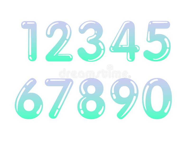 L'ensemble d'élément de la forme de dix nombres zéro neuf, numérotent la conception plate illustration de vecteur