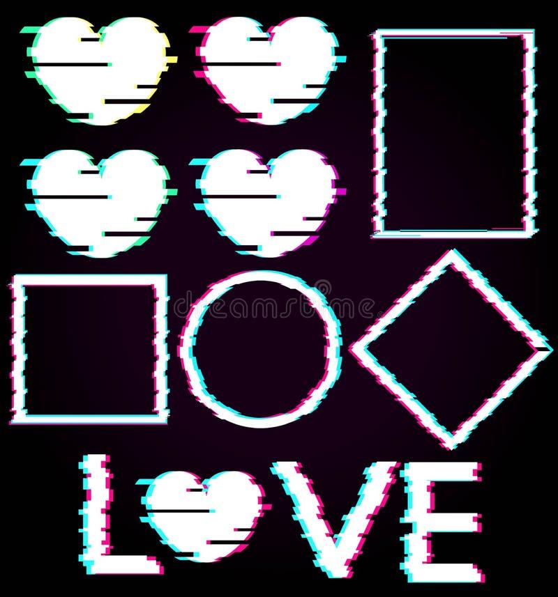 L'ensemble d'éléments abstraits noirs se tiennent le premier rôle, entourent, ajustent, losange, les coeurs, texte d'amour dans l illustration libre de droits