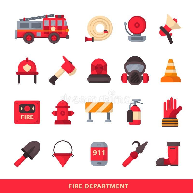L'ensemble d'éléments conçus de sapeur-pompier a coloré les icônes de secours de corps de sapeurs-pompiers et le pompier d'équipe illustration stock