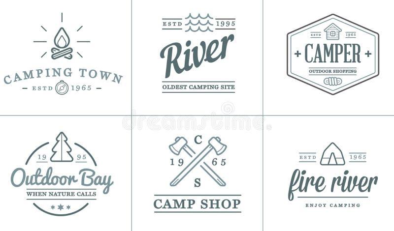 L'ensemble d'éléments de camp de camping de vecteur et l'illustration d'icônes d'activité en plein air peuvent être employés comm illustration de vecteur