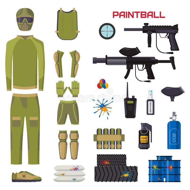 L'ensemble d'éléments de concepteur du jeu d'uniforme et de sport de protection d'icônes de symboles de club de paintball tirant  illustration stock