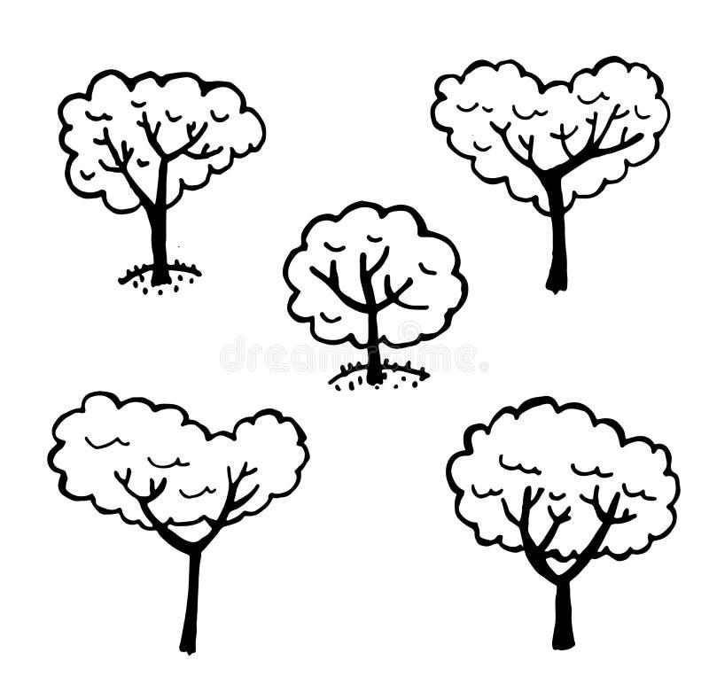 L'ensemble d'éléments de graphiques a isolé des arbres illustration de vecteur