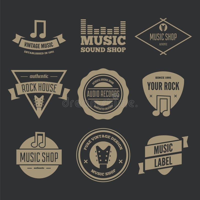 Download L'ensemble D'éléments De Logotypes, Les Labels, Les Insignes Et Les Silhouettes Pour La Musique Font Des Emplettes Illustration Stock - Illustration du fonte, vieux: 77160021