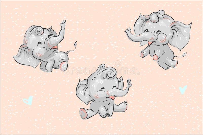 L'ensemble d'éléphants puérils mignons de bébé de bande dessinée et les coeurs sur le fond grunge dirigent l'illustration pour de illustration libre de droits