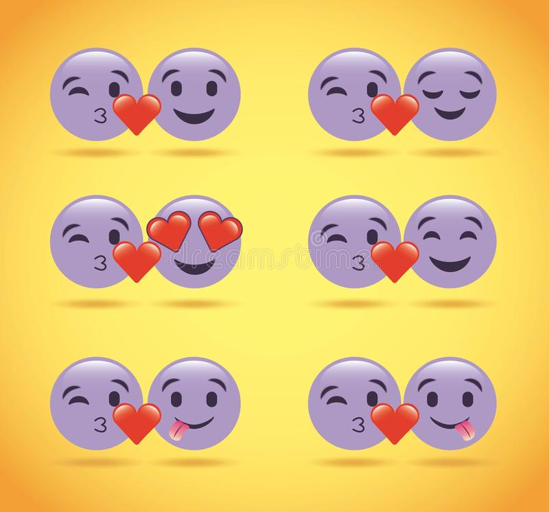 L'ensemble d'émoticônes pourpres de sourire aiment des coeurs mignons illustration libre de droits