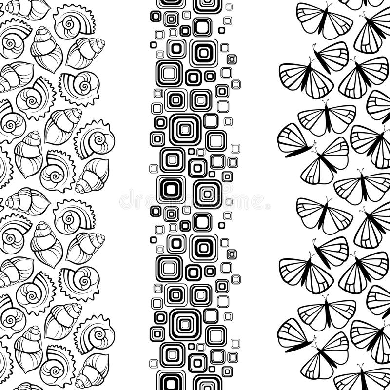L'ensemble d'été encadre l'espace de copie de whith illustration stock