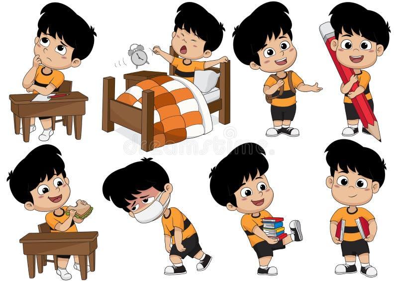 L'ensemble d'activité d'enfant, enfant pensent, se réveillent, tenant un grand crayon, mangent s illustration stock