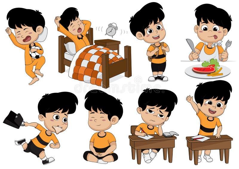 L'ensemble d'activité d'enfant, enfant se réveillent, dorment, mangent, vont à l'école, apprenant illustration stock
