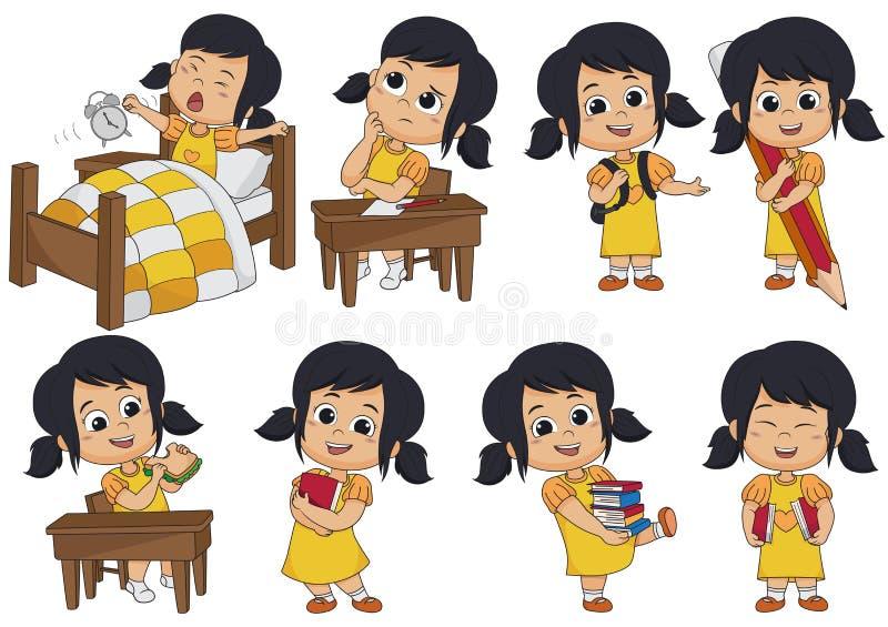 L'ensemble d'activité d'enfant, enfant pensent, se réveillent, tenant un grand crayon, mangent s illustration libre de droits