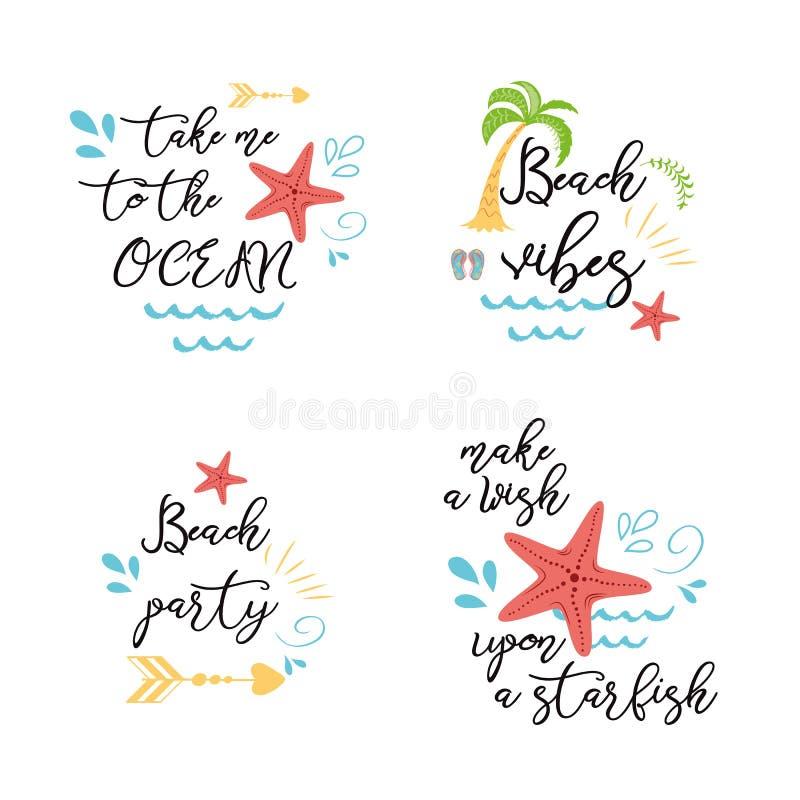 L'ensemble d'affiches de mer de vacances d'été imprime des cartes de bannières avec des citations inspirées dans la paume d'océan illustration libre de droits