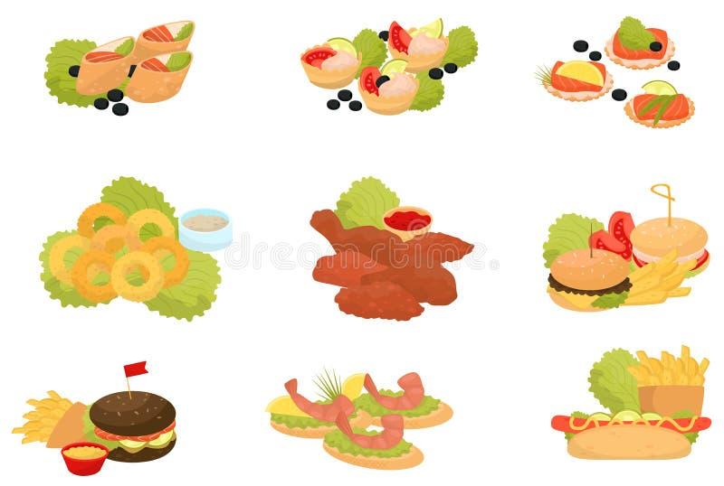 L'ensemble d'aliments de préparation rapide, les repas de rapide traditionnels, canapes pour le banquet dirigent des illustration illustration de vecteur