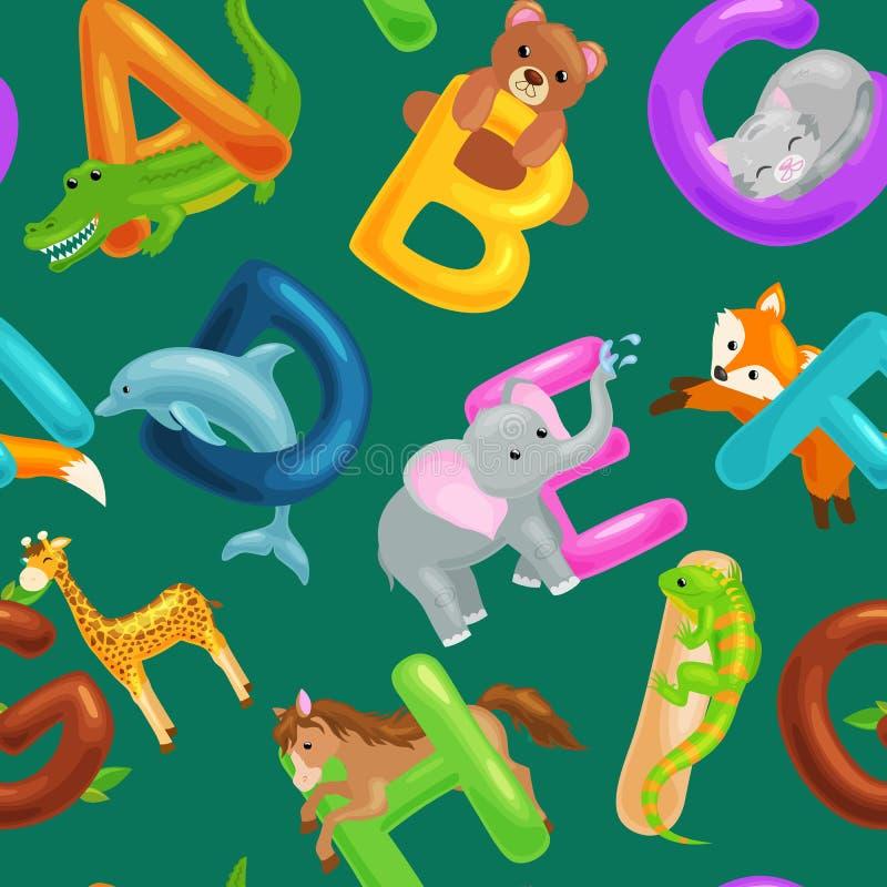 L'ensemble d'alphabet d'animaux pour des enfants pêchent les lettres, éducation d'ABC d'amusement de bande dessinée dans l'école  illustration stock