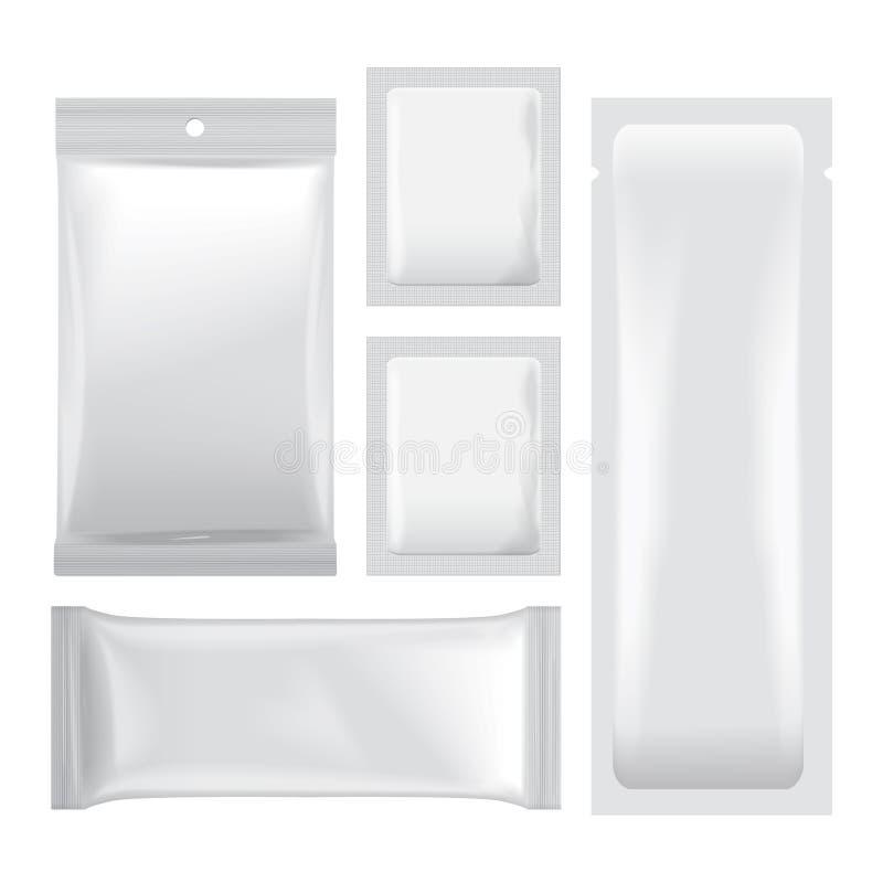L'ensemble d'aluminium vide blanc met en sac l'emballage pour la nourriture illustration de vecteur