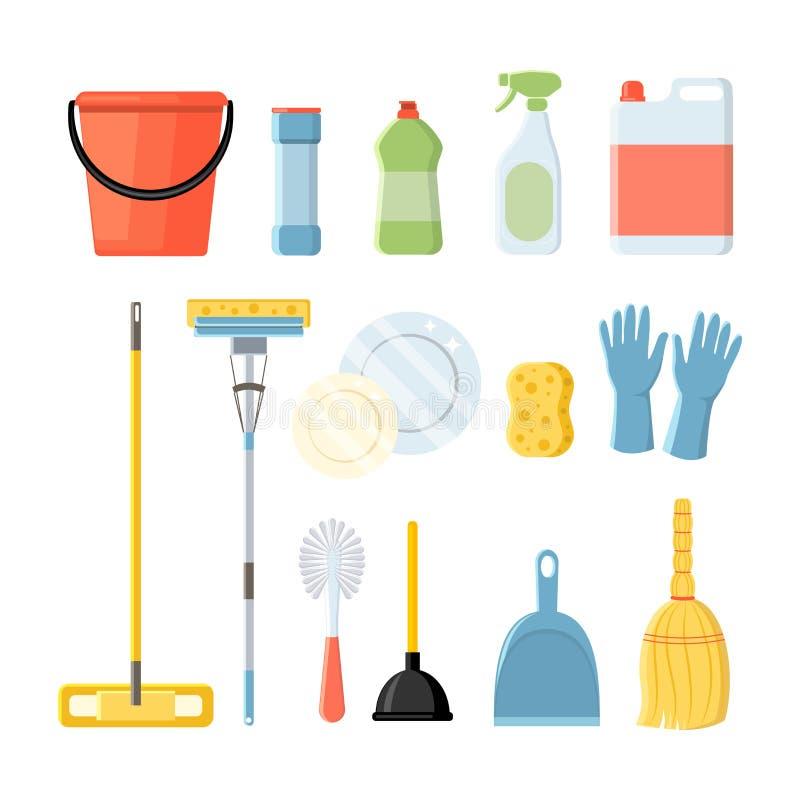 L'ensemble d'approvisionnements clining de ménage dirigent l'illustartion dans le St plat illustration de vecteur